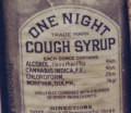 One Night Cough Syrup' with some remarkable ingredients, manufactured in Baltimore, 1888.png